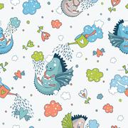 Cute  funny vector  seamless pattern. hand drawn doodle des - stock illustration