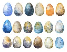 Hand drawn Easter eggs watercolor set. Illustration for greeting Stock Illustration