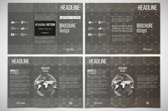 Set of tri-fold brochure design template on both sides with world globe element - stock illustration