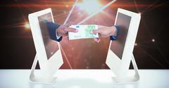 Composite image of businessmen shaking hands and exchanging money Stock Illustration