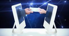 Composite image of businessmen exchanging money Stock Illustration