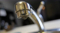 4K Leaky Kitchen Faucet Macro CLoseup Stock Footage