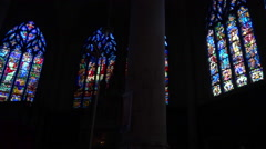 Stained glass windows in a french church - panoramic shot 2 Stock Footage
