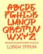 Graffiti font - Hand written - Vector alphabet Stock Illustration