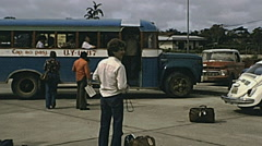 Iquitos 1978: tourist coach outside the airport Stock Footage