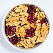 Walnut kernels, halves - stock photo