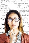 Composite image of thoughtful businesswoman with eyeglasses - stock photo