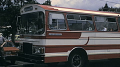 Quito 1978: coach with tourists Stock Footage