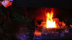 Forging Fire For Heating Metal Stock Footage