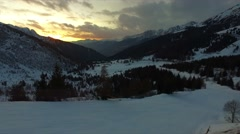 Sunset in the Tonale Pass ski resort. Stock Footage