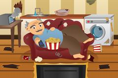 Lazy Sloppy Man Watching Television - stock illustration