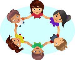 Multi-ethnic Kids Holding Hands Stock Illustration