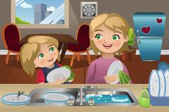 Mother Daughter Washing Dishes Stock Illustration