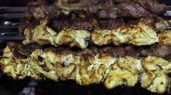 Greasy fried meat on charcoal grill, unhealthy food detrimental to health, BBQ Stock Footage