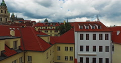 Taking off from the old town of Prague. Beautiful view of Prague Castle. Stock Footage