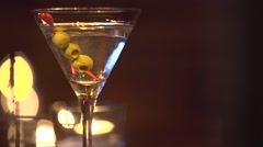 Martini drink on bar counter - stock footage