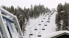 View to the ski lift at the ski resort in Saariselka, Finland. Stock Footage