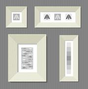 Paintings in wide frames - stock illustration