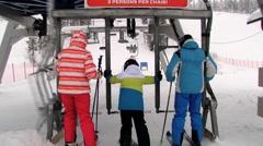 People enter to the ski lift in Saariselka, Finland. Stock Footage