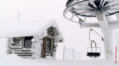 View to the upper station the ski lift at the ski resort in Saariselka, Finland. Stock Footage