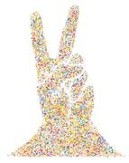 Multicolored Musical Victory Gesture - stock illustration