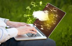 Stock Photo of Hand working with a Cloud Computing diagram
