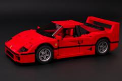 Lego Ferrari F40 on black background - stock photo