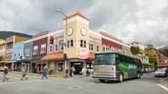 Ketchikan Alaska Downtown Street Scene with Passing Tourist Bus Stock Footage