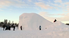 People visit ice chapel in Saariselka, Finland. Stock Footage