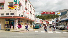 Ketchikan Alaska Welcome Sign on Vibrant Street Scene Stock Footage
