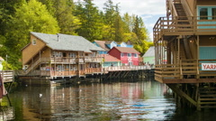 Panning Across Creek Street Buildings in Ketchikan Alaska Stock Footage