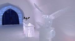 Interior of the ice chapel in Saariselka, Finland. Stock Footage