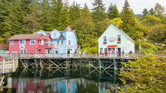 Ketchikan Alaska Tourists Visiting Historical Creek Street - stock footage