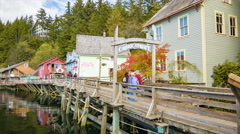 Ketchikan Alaska People Walking Entering Creek Street Stock Footage