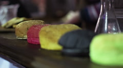 Synthetic burger buns with artificial flavor and colors, chemical food additives Stock Footage