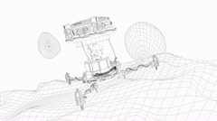 Artist render, fictional Space miner, wireframe - stock footage