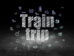 Tourism concept: Train Trip in grunge dark room - stock illustration