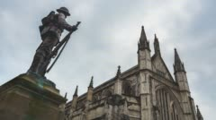Winchester Cathedral time-lapse with fast clouds Stock Footage
