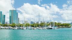 Honolulu Hawaii Marina with Boats Yachts and Modern Buildings Stock Footage