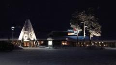 View to the buildings of Saariselka at night in Saariselka, Finland. Stock Footage
