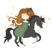 Whimsical girl on black horse - stock illustration