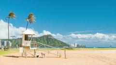 Sandy Honolulu Hawaii Beach with Lifeguard Station Stock Footage