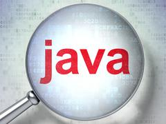 Programming concept: Java with optical glass Stock Illustration