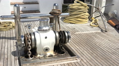 anchor winch working on boat deck - stock footage