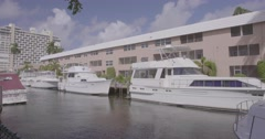 Motorboats moored in canal Stock Footage