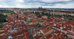 Landing in the old town of Prague, the Czech Republic. Great view of the Castle. Stock Footage