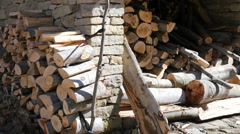 Firewood prepared for winter stockpiled by wall in Etar Bulgaria Stock Footage