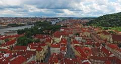 Flying through the old town of Prague, the Czech Republic. River, gardens. Stock Footage