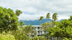 Hotel Building Exterior in Tropical Hawaiian Island Setting Stock Footage
