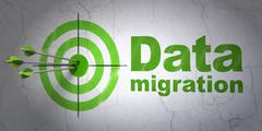 Information concept: target and Data Migration on wall background - stock illustration